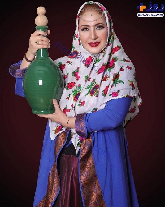 تیپ قاجاری فاطمه گودرزی در شام ایرانی+عکس
