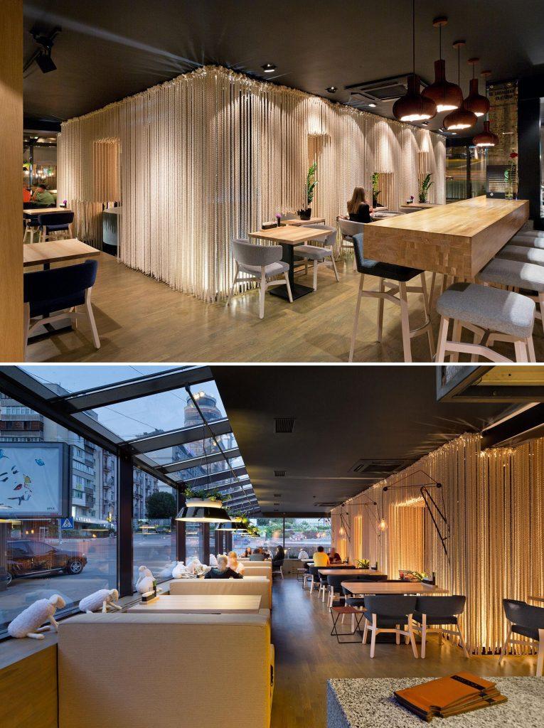 پارتیشن های طنابی در طراحی داخلی رستوران