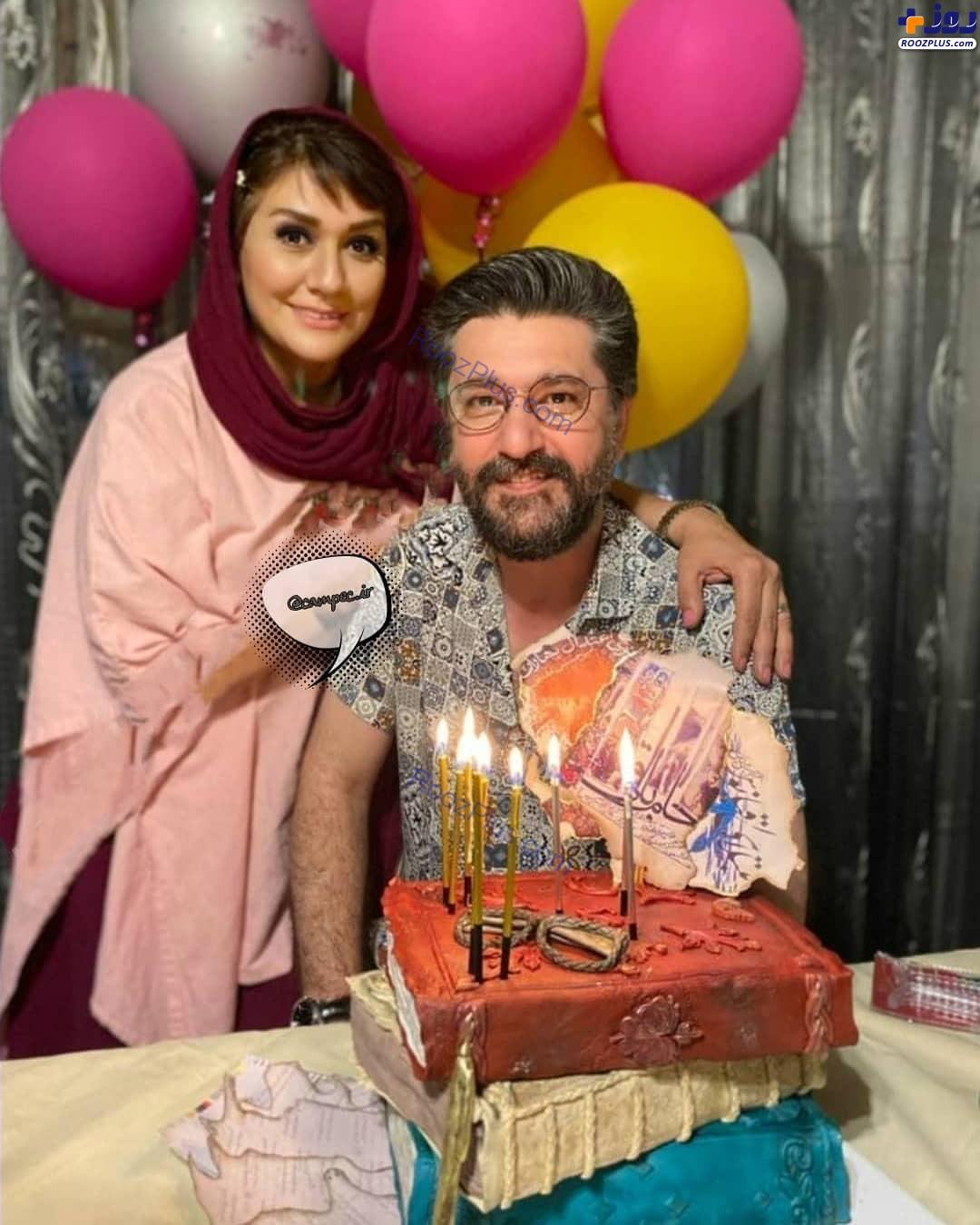 جشن تولد ۵۰ سالگی امیرحسین مدرس در کنار همسرش+عکس