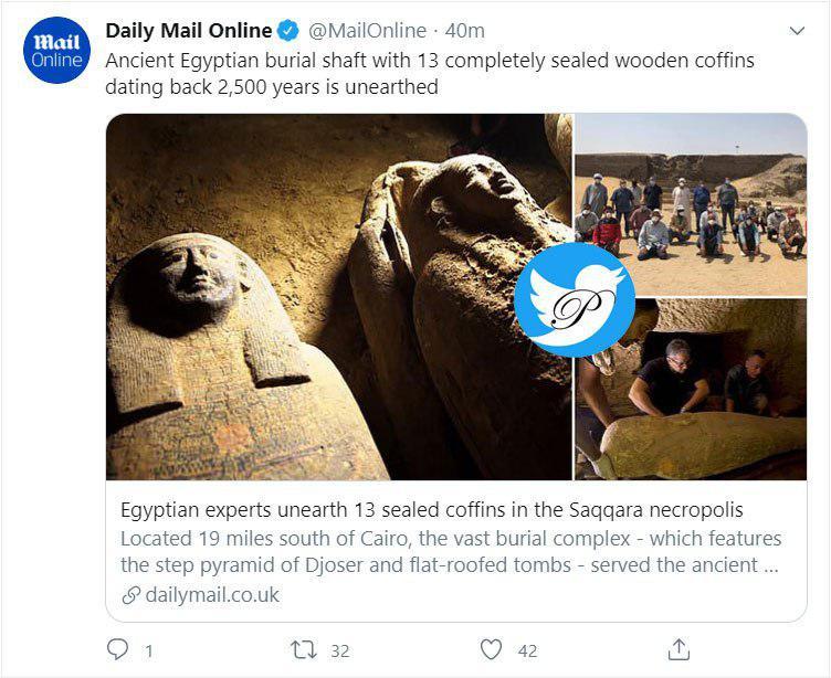 کشف ۱۳ تابوت مهر و موم شده چوبی با قدمتی ۲۵۰۰ ساله در مصر+ عکس