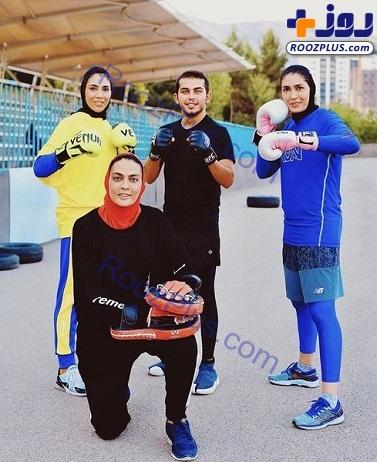 آقای بازیگر در جمع خواهران قهرمان+عکس