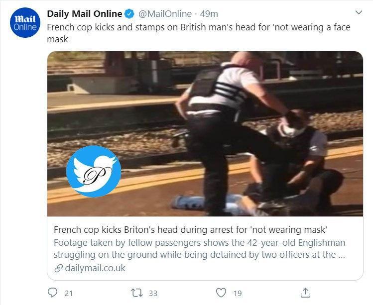 دستگیری مرد انگلیسی که ماسک نزده بود جنجالی شد +عکس