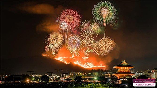 سوزاندن کامل یک کوه در جشنوارهای ژاپنی