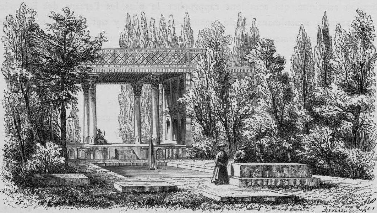 نقاشی قدیمی آرامگاه حافظ ۱۸۰ سال قبل ! +عکس