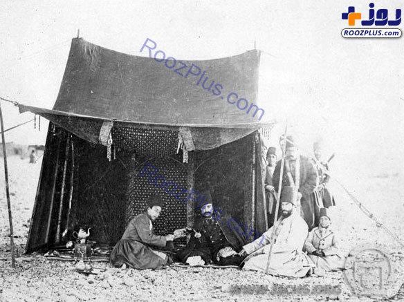 ناصرالدین شاه و مظفرالدین میرزا در شکارگاه + عکس