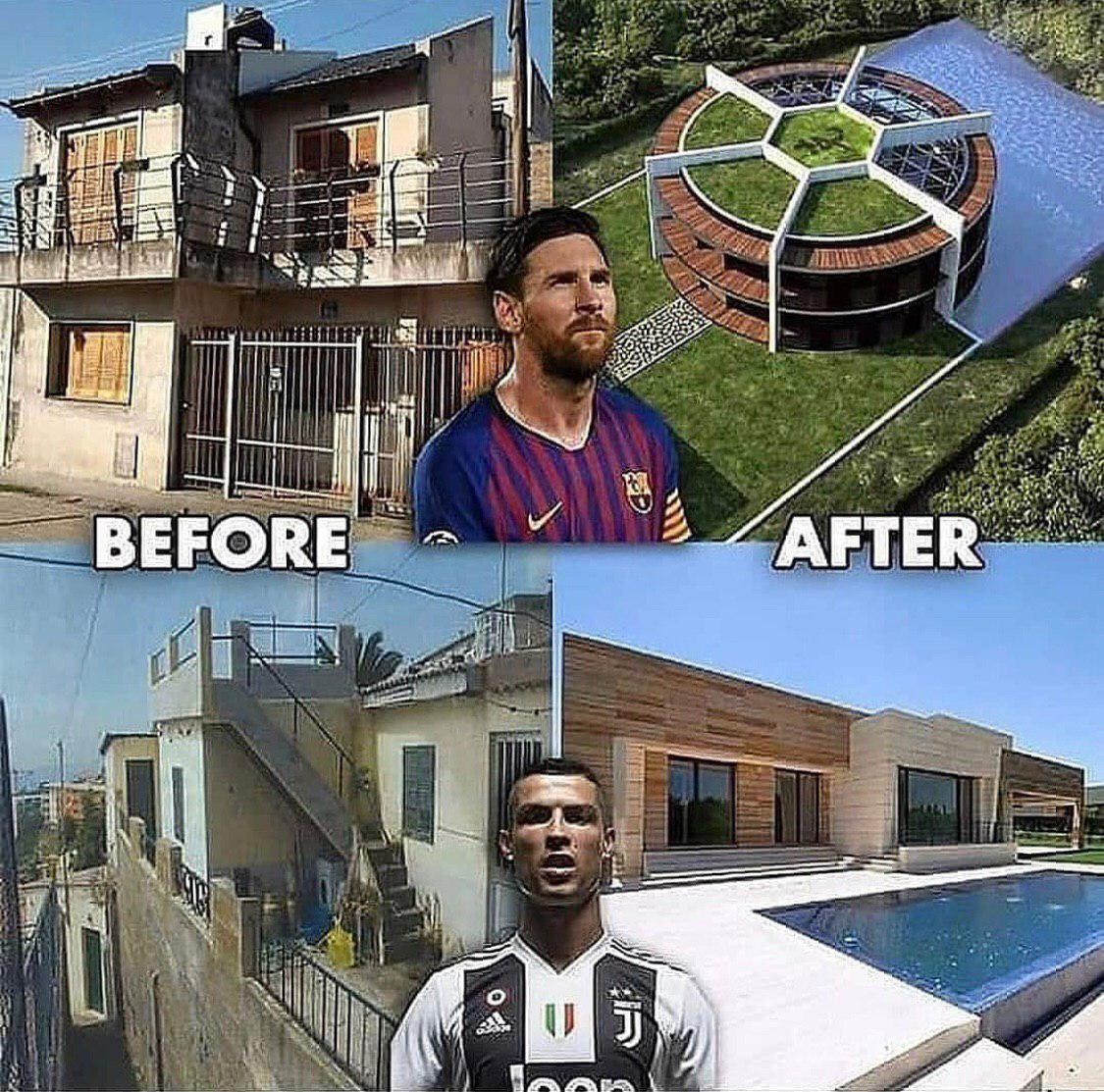 تفاوت زندگی رونالدو و مسی قبل و بعد از ثروتمند شدن +عکس