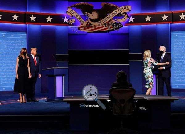 ترامپ و بایدن و همسرانشان در پایان مناظره+عکس
