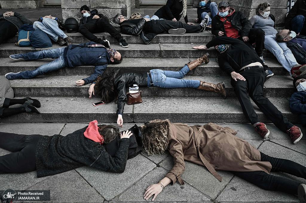 حرکت اعتراضی و تمارض به مرگ در فرانسه + عکس