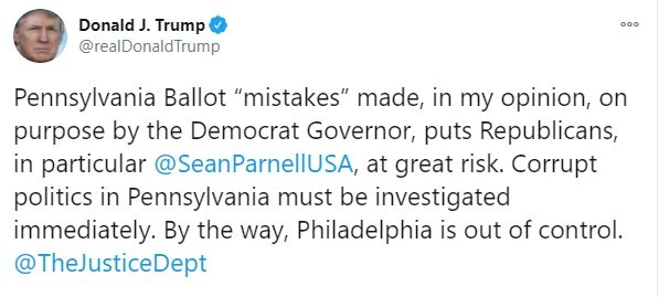 واکنش ترامپ به پیروزی بایدن در پنسیلوانیا+عکس