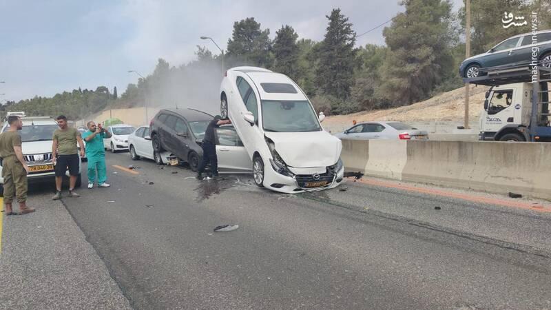 تصادف عجیب سه خودرو در سرزمین های اشغالی +عکس