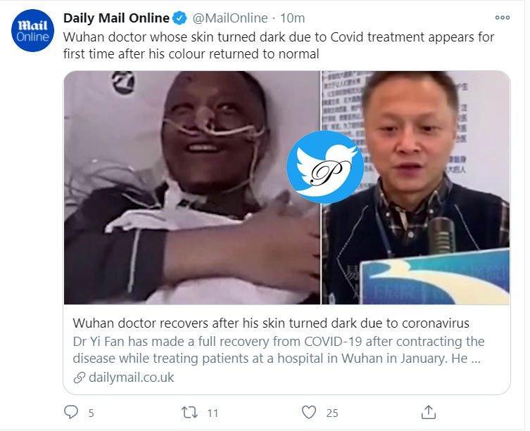 دکتر معروف چینی که با کرونا رنگش تیره شده بود +عکس