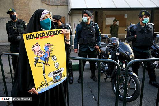 تجمع اعتراضی مقابل سفارت فرانسه در تهران +عکس