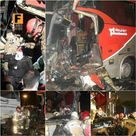 تصادف در بزرگراه تندگویان با ۱۷نفر مصدوم +عکس