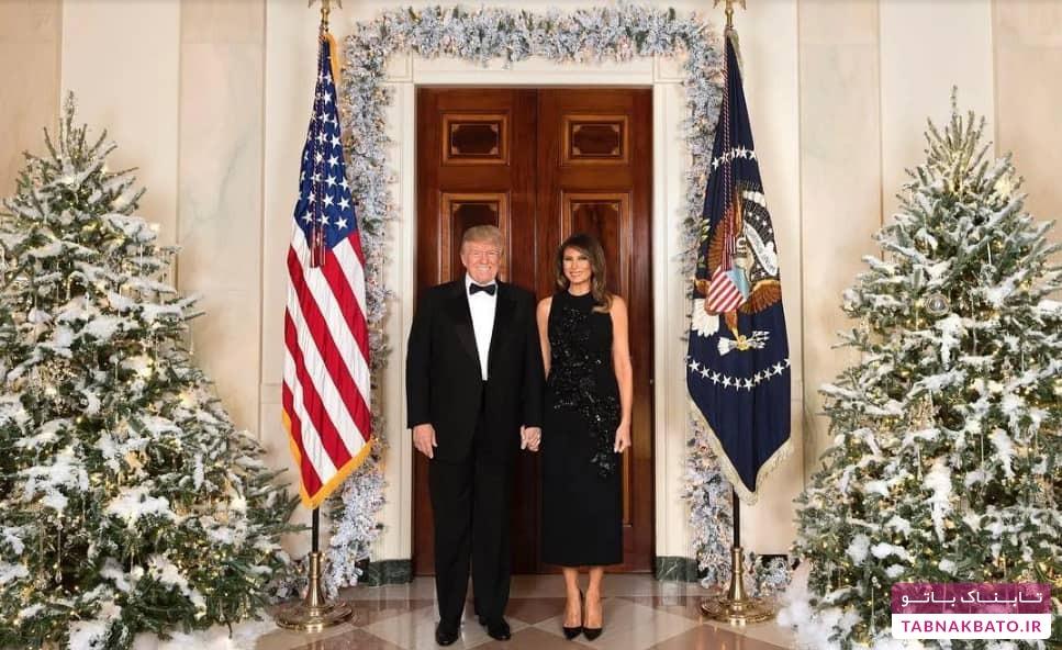لباس ها و استایل رسمی یک شکل دونالد و ملانیا در کاخ سفید