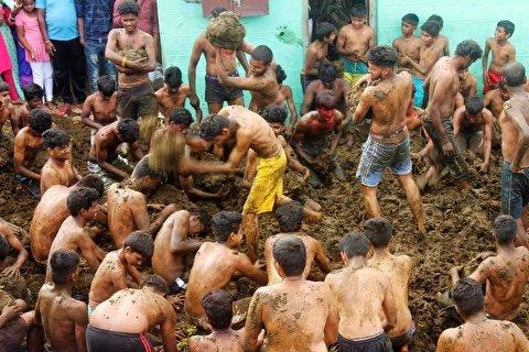جشنواره پرتاب کود گاو در هند!