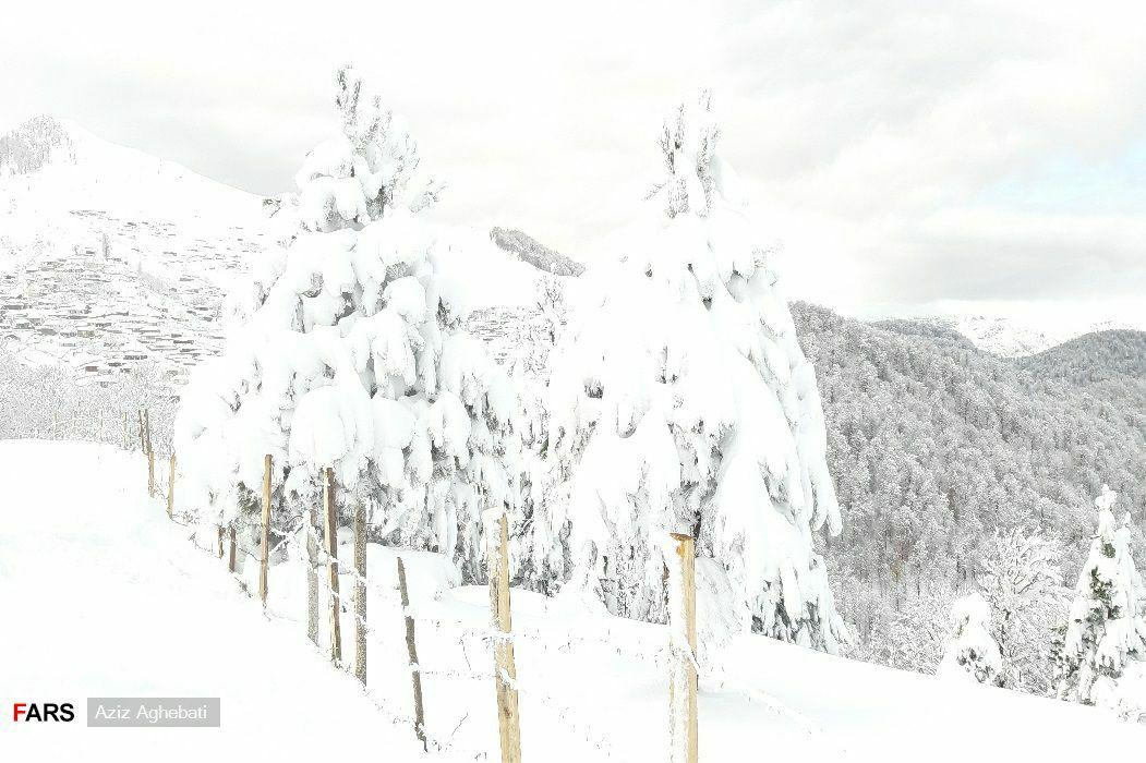 برف پاییزی فوق العاده زیبا در روستاهای کوهستانی تالش گیلان + عکس