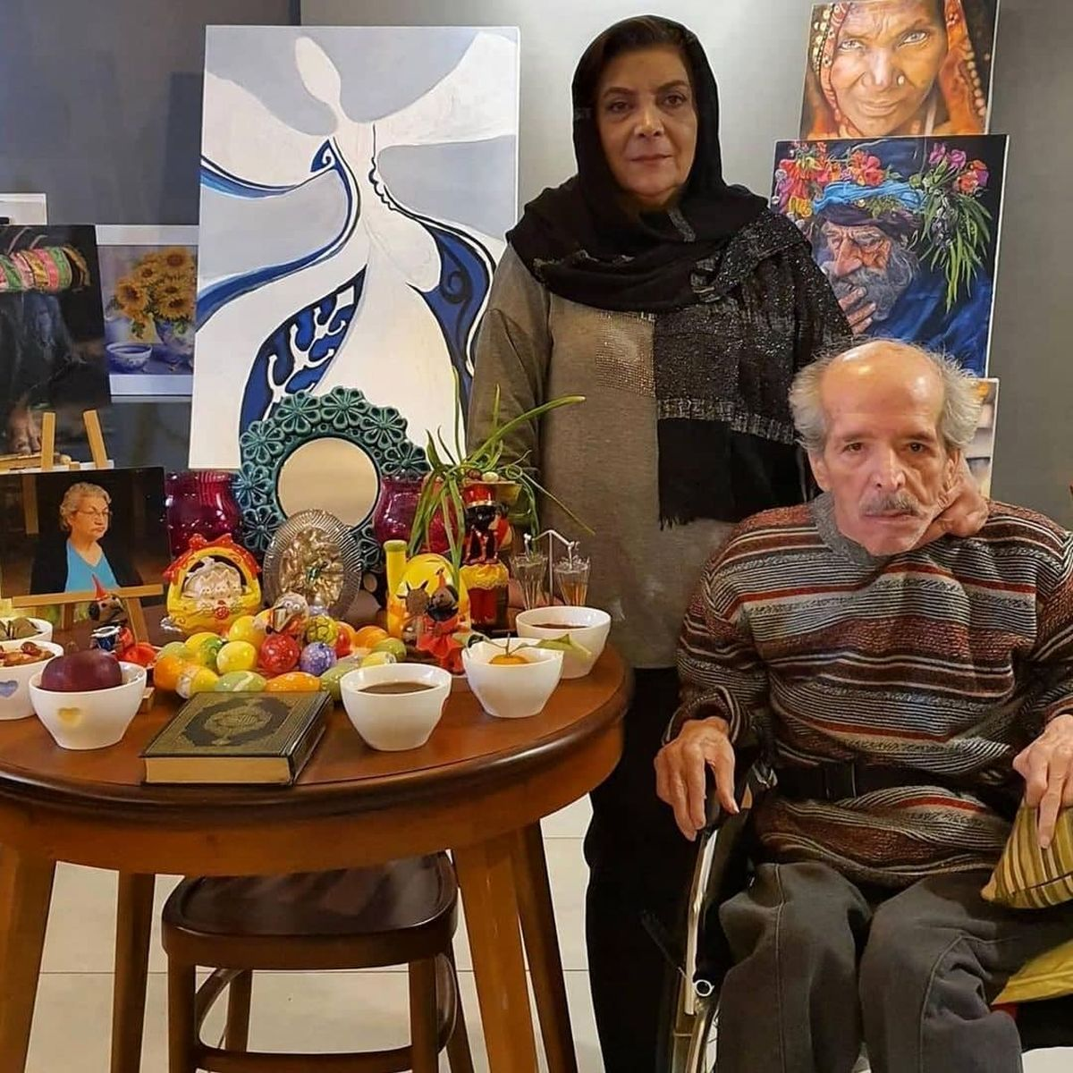 عکس نوروزی محسن قاضی مرادی و همسرش
