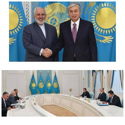 ظریف و رئیسجمهور قزاقستان دست دادند