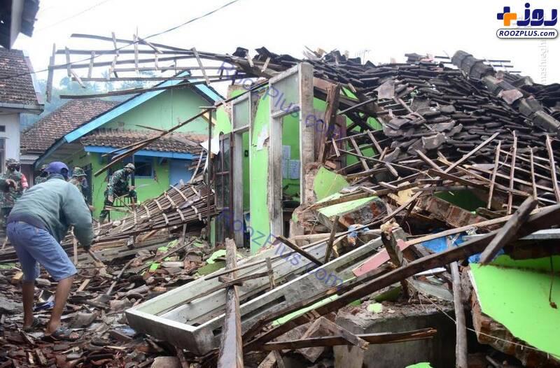 ریزش عجیب یک ساختمان بر اثر زلزله در اندونزی+عکس