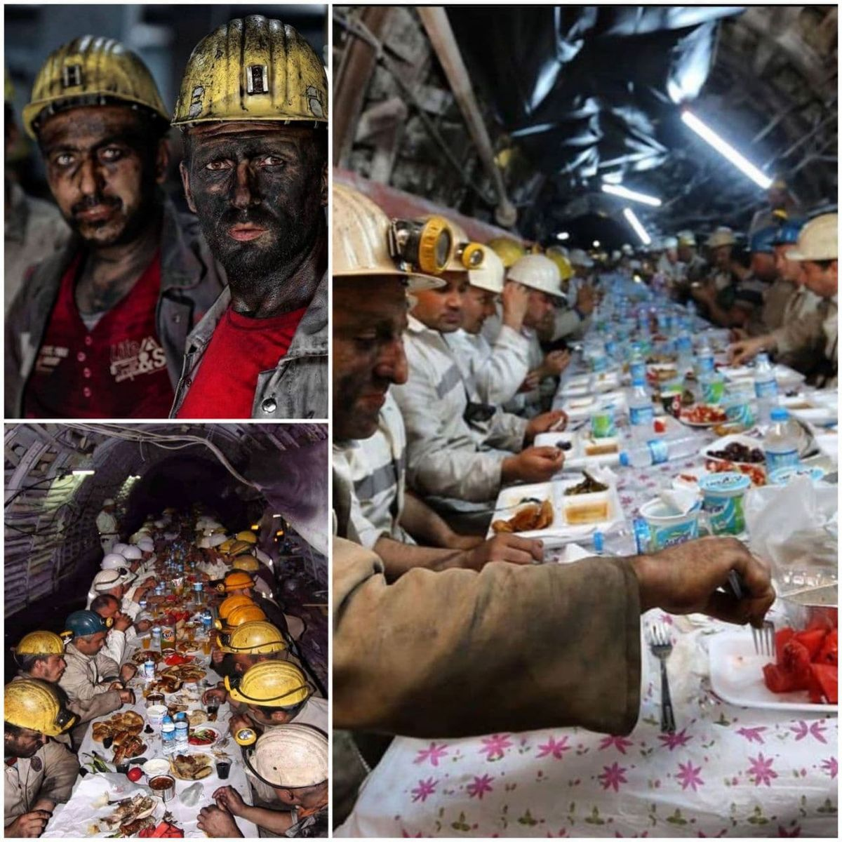 کارگران معدن در ترکیه در حال افطار +عکس