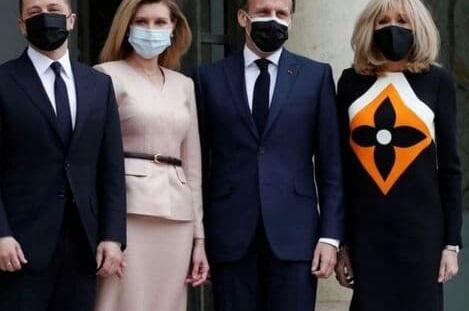 طرح ایرانی روی لباس همسر رییس جمهور فرانسه + عکس