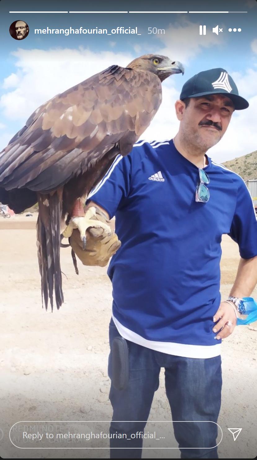 عکس عجیب و غریب مهران غفوریان با عقاب غول پیکر
