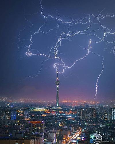 منظرهای زیبا از رعد و برق در آسمان تهران