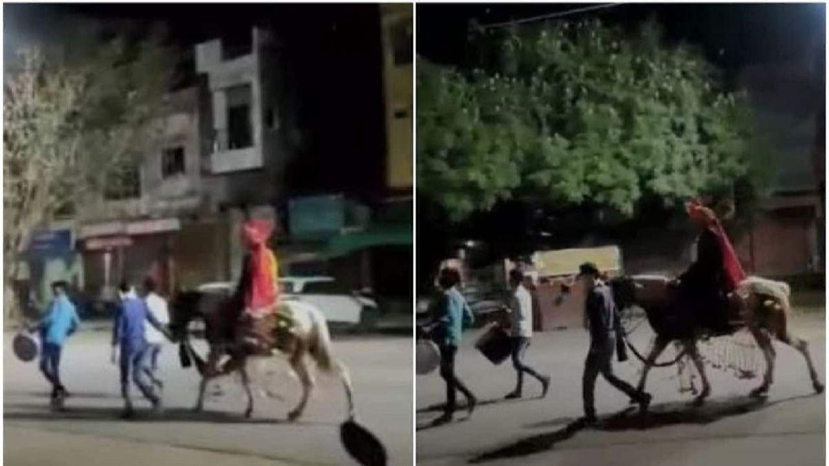 داماد تنها در خیابان های سوت و کور هند+ عکس