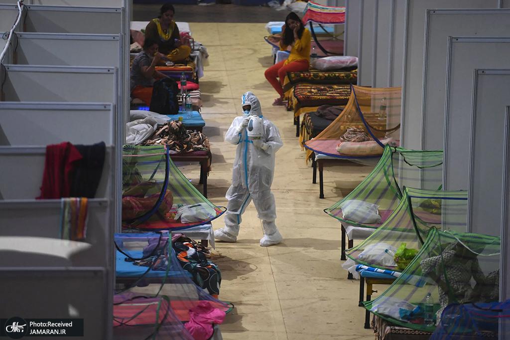 مرکز موقت رسیدگی و مراقبت از بیماران کرونایی در هند + عکس
