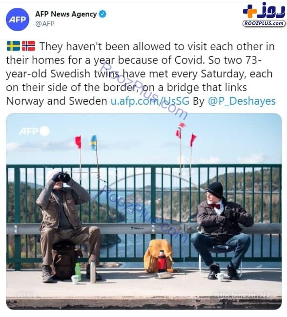 دیدار عجیب دوقلوهای ۷۳ ساله در مرز نروژ و سوئد +عکس