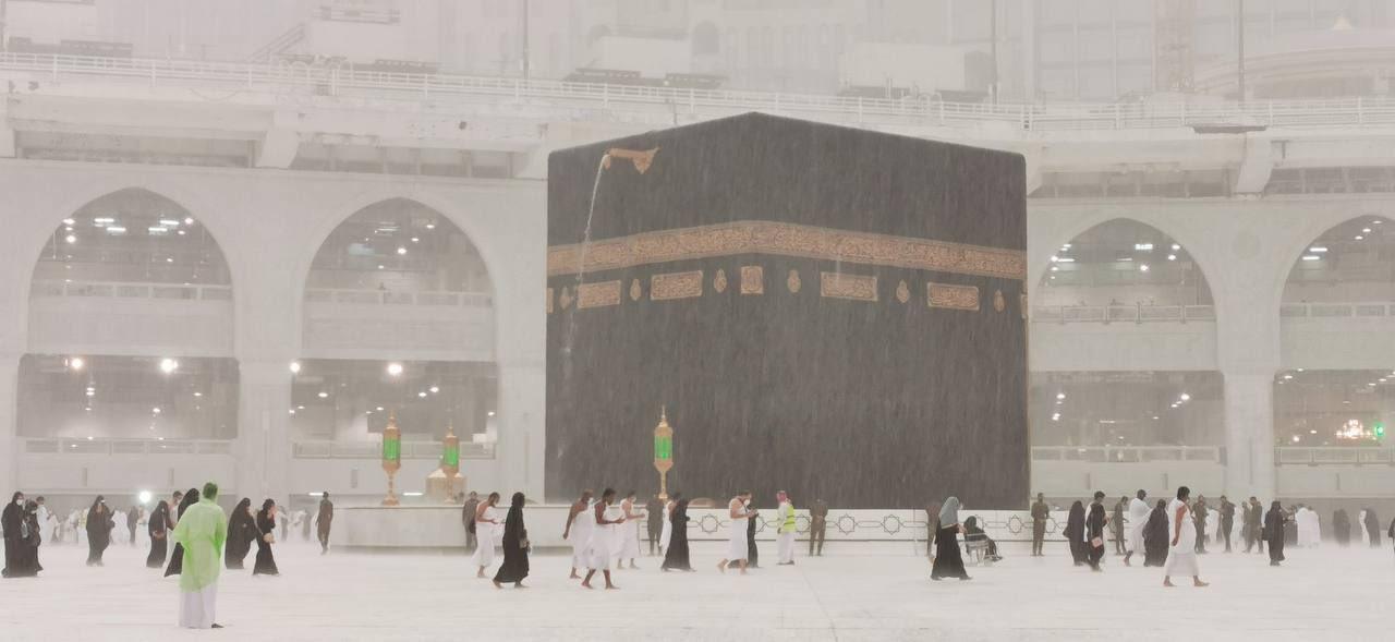 بارش تگرگ در مکه + عکس