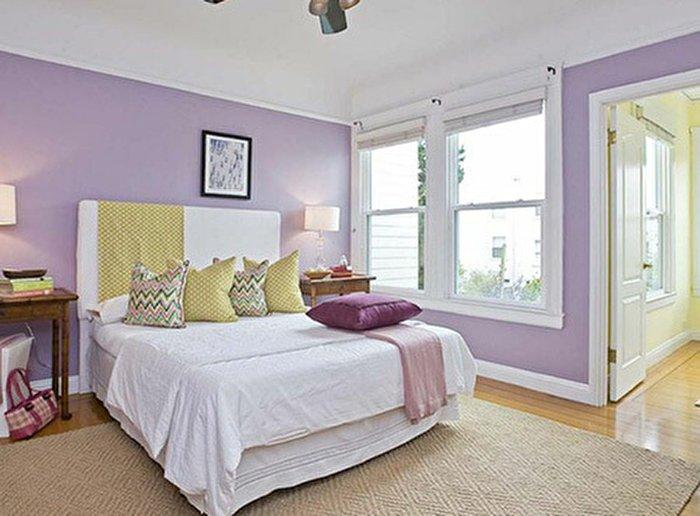 ترکیب رنگ یاسی در دکوراسیون اتاق خواب