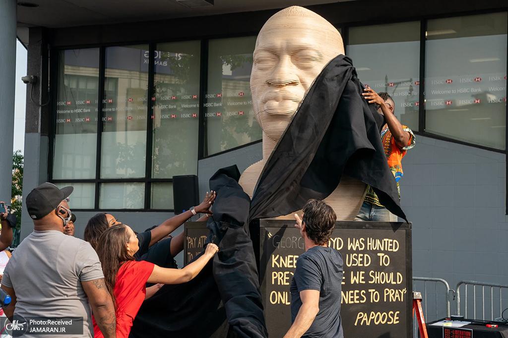 رونمایی از مجسمه جورج فلوید در آمریکا