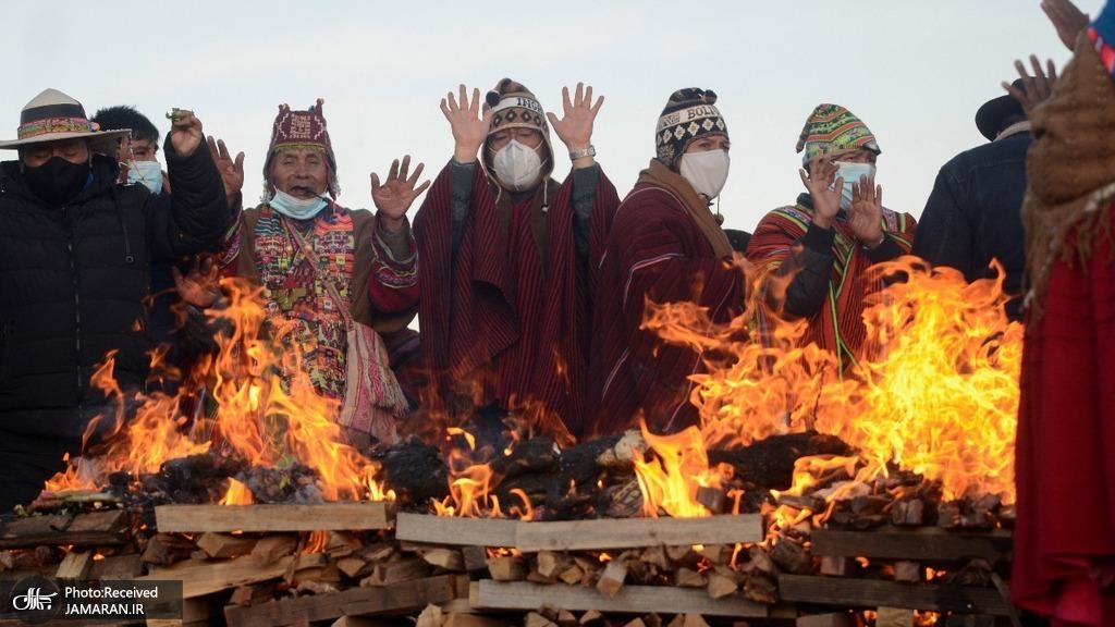 رئیس جمهور بولیوی در مراسم سال نو بومیان + عکس