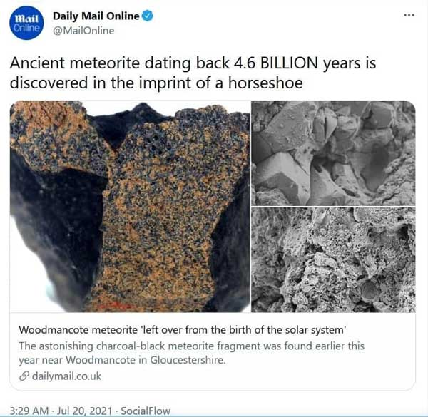 شهاب سنگ ۴.۶میلیارد ساله، شکل نعل اسب+عکس