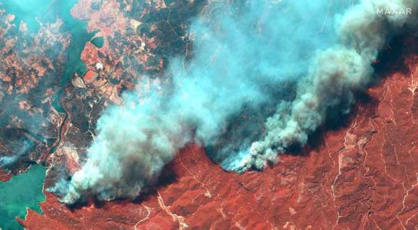 عکس ماهوارهای از آتشسوزی جنگلها در ترکیه