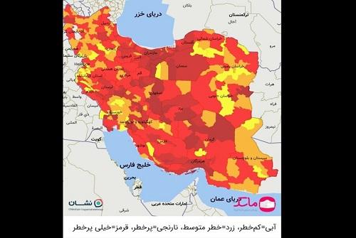 رنگبندی کرونایی جدید ایران منتشر شد