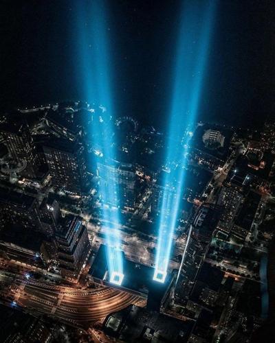 نورپردازی برجهای دوقلو در سالگرد حادثه ۱۱ سپتامبر