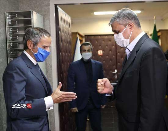 تصویری از دیدار گروسی و رئیس سازمان انرژی اتمی