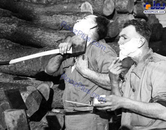اصلاح ريش با تبر در جنگ جهاني دوم+عکس