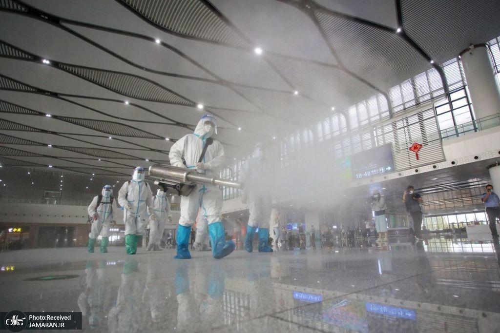 ضدعفونی ایستگاه قطار در یانگژ چین + عکس