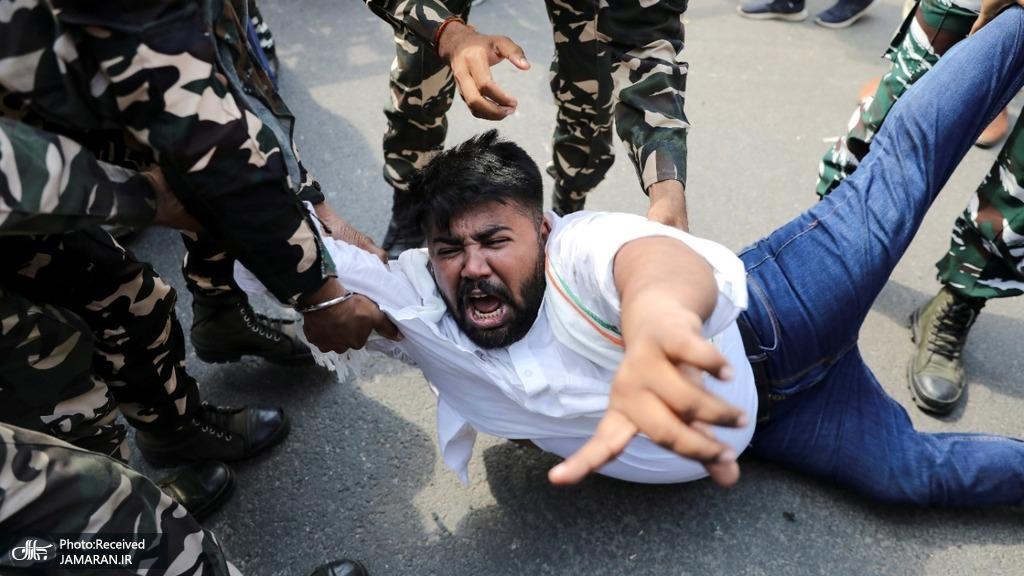 فریاد جوان معترض هندی + عکس