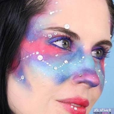 میک آپ کهکشانی؛ نقاشی صور فلکی بر روی صورت