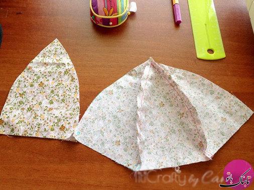 بخش اصلی کلاه با کمک پارچهی نخی ایجاد میشود پارچه را به 6 قسمت مساوی مانند شکل بالا تقسیم کرده و قسمتها را کنار یکدیگر قرار داده به هم متصل میکنیم