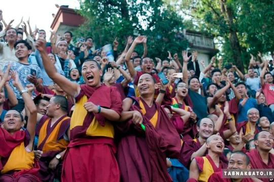 هند: فریاد راهبان بودایی برای تیمشان در مسابقات فوتبال در دارماسالا شمال هند