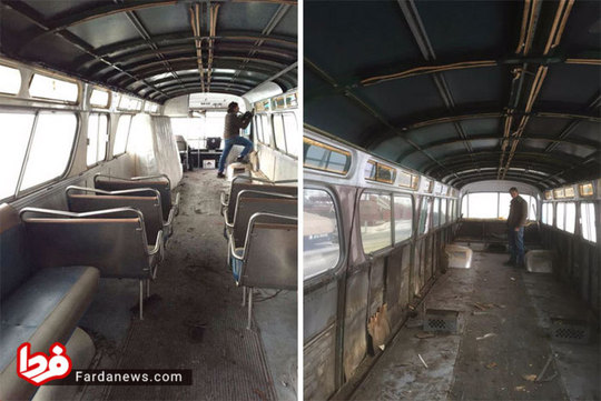 ۳ سال کار یک زن برای تبدیل اتوبوس به خانه +عکس