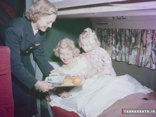 صبحانه در رختخواب ایرلاین آمریکا دهه ی پنجاه
