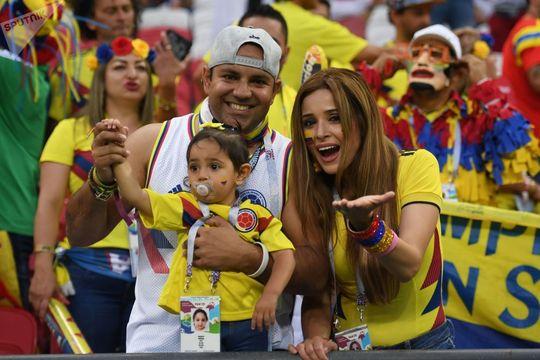 هواداران تیم ملی کلمبیا قبل از بازی بین تیم های کلمبیا و لهستان