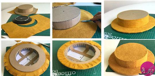 پارچهی نمدی را که به عنوان زمینهی ساعت در نظر گرفتهایم روی الگوی کلاه میچسبانیم