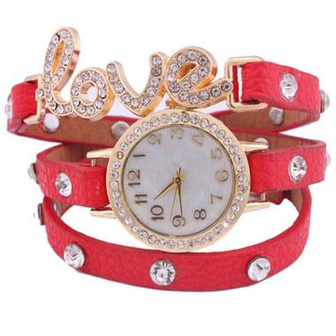 ساعت با بند صورتي و نگين دار